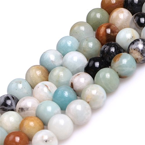 Round Mixed Color Amazonite Stone Big Large Hole Beads for Jewelry Making 15'' (8mm) 2mm Large Hole