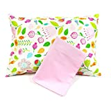 Maddie Moo Flower/Pink Toddler Pillowcases, Fits 13x18 and 14x19 Toddler and Travel Pillows, 100% Cotton, Set Of 2