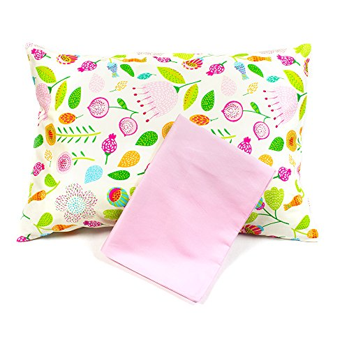 2 Pillowcases, 1 Floral, 1 Solid Pink Pillow Covers for Toddler/Travel Pillows