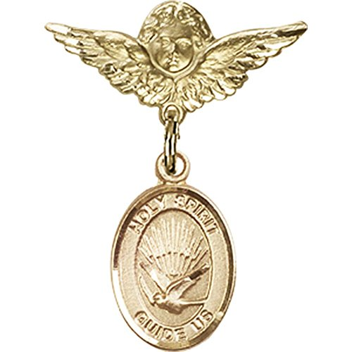 14kt Yellow Gold Baby Badge with Holy Spirit Charm and Angel w/Wings Badge Pin 1 X 3/4 inches by Unknown
