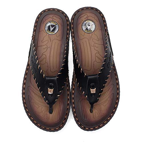 Occasionnels De Hommes Lanières Dessus Sandales Pantoufles En Taille Cricket Antidérapantes Plage Chaussures Color Eu Cuir Été Doublées Plates 41 Noir qgwdC