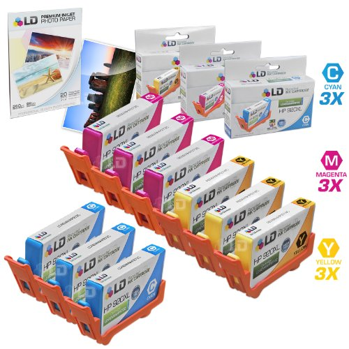 LD © Remanufactured Replacement for HP 920XL / 920 Color Ink: 3 CD972AN Cyan, 3 CD973AN Magenta & 3 CD974AN Yellow for OfficeJet 6000, 6500, 6500a, 6500a Plus, 7000 & 7500a + FREE Photo Paper