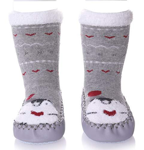 TRUEHAN Baby Socks Newborn Toddler Infant Baby Girls Boys Cartoon Animal Fuzzy Slipper Shoes - Gift Idea (14 cm / 18-30 Month, Gray Penguin) ()