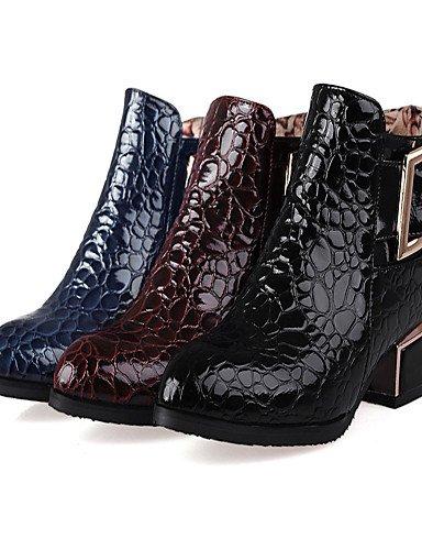 5 Uk7 Robusto De A Puntiagudos Tacón Zapatos botas rojo Vestido Moda Eu41 azul us9 Botas Negro Xzz Mujer 10 Cn42 La 8 Red Cuero Patentado 5 qCxHxY5B