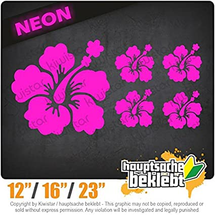 Decal Sticker Bumper Cut Vinyl Motorcycle Chrome Hibiscus Flower Set 7,9 x 3,9 15 Colors Neon