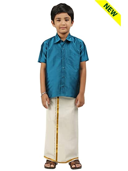 c59215f0 Ramraj Little Stars Boys Cotton 3 in 1 Dhoti, Shirt and Shalya (Blue, 7-8  Years): Amazon.in: Clothing & Accessories