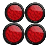 HEHEMM 4 inch Round Red 12 LED Stop Turn Signal Tail Light for Truck Trailer DC 12V(Pack of 4)