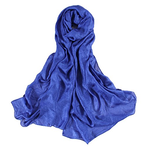 UNIQUE Super Doux Lisse Soie Bleu Echarpe Châle Foulard Etole Chèche Pashmina Paréos Cache-maillots sarongs Robe De Plage Femme Brillant