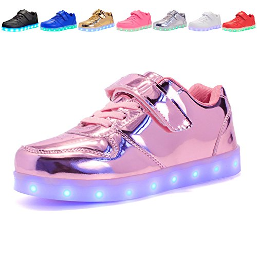 Voovix Kids Led Light up Shoes Flashing Low-top Sneakers for Boys and Girls Child Unisex(Pink01,US7.5/CN25) by Voovix