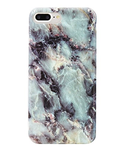 Anti Shock Case - iPhone 7 Plus Case, Wastou [Marble Pattern Series] Slim Fit Anti-Shock Frosted TPU Protective Cover Case for Apple iPhone 7 Plus (2016) (Dark Blue)