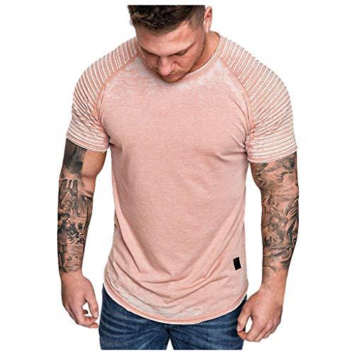 Men Summer Blouse, JOYFEEL Casual Patchwork Slim Fit Raglan Shirt Pleats Short Sleeve Pattern Outdoor Sport Top