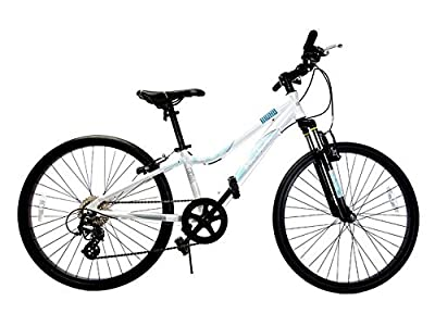 """Ryda Bikes Moab - 24"""" White Youth Unisex Mountain Bike - 8 Speed All Purpose Bicycle for Kids and Teens with Flat Proof Tires"""