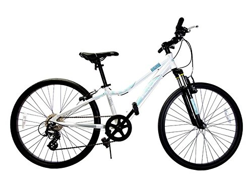 "Ryda Bikes Moab - 24"" White Youth Unisex Mountain Bike - 8 Speed All Purpose Bicycle for Kids and Teens with Airless Bike Tires"