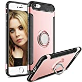 iPhone 7 Case,iPhone 7S Case,Aemotoy Protective Cover 360 Degrees Ring Kickstand Clip Metal Plate Bracket Holster Shockproof Defender Anti-Scratch Phone Cases for iPhone 7 7S (Rose Gold)