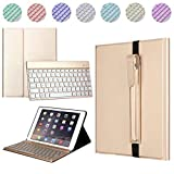 iPad Pro 10.5 Keyboard Case with Pencil Holder Case with Detachable 7 Colors Backlit Bluetooth Keyboard,Leather Protective Cover for iPad Pro 10.5.(Gold)
