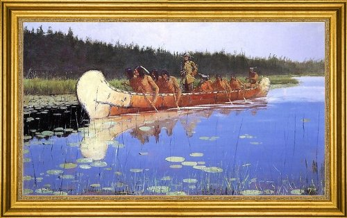 "Art Oyster Frederic Remington Radisson and Groseilliers - 18.05"" x 27.05"" Premium Canvas Print with Gold Frame"