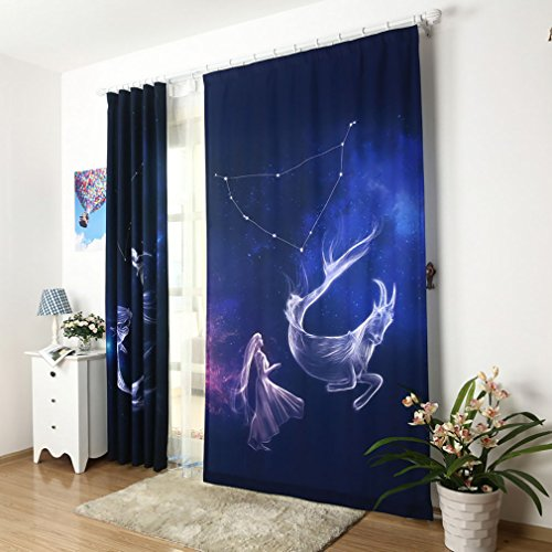 Capricorn Astrology Zodiac Window Curtains For Living Room Dark Blue Constellation Kitchen Drapes Curtain Panels for Bedroom Printed Bathroom Room Curtains Darkening Grommet 1 PC,51 x 96 inch