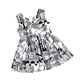 Kehen Kid Toddler Baby Girl Retro Print Sleeveless Backless Princess Dress Summer Party Playwear Dresses (#1, 2T)