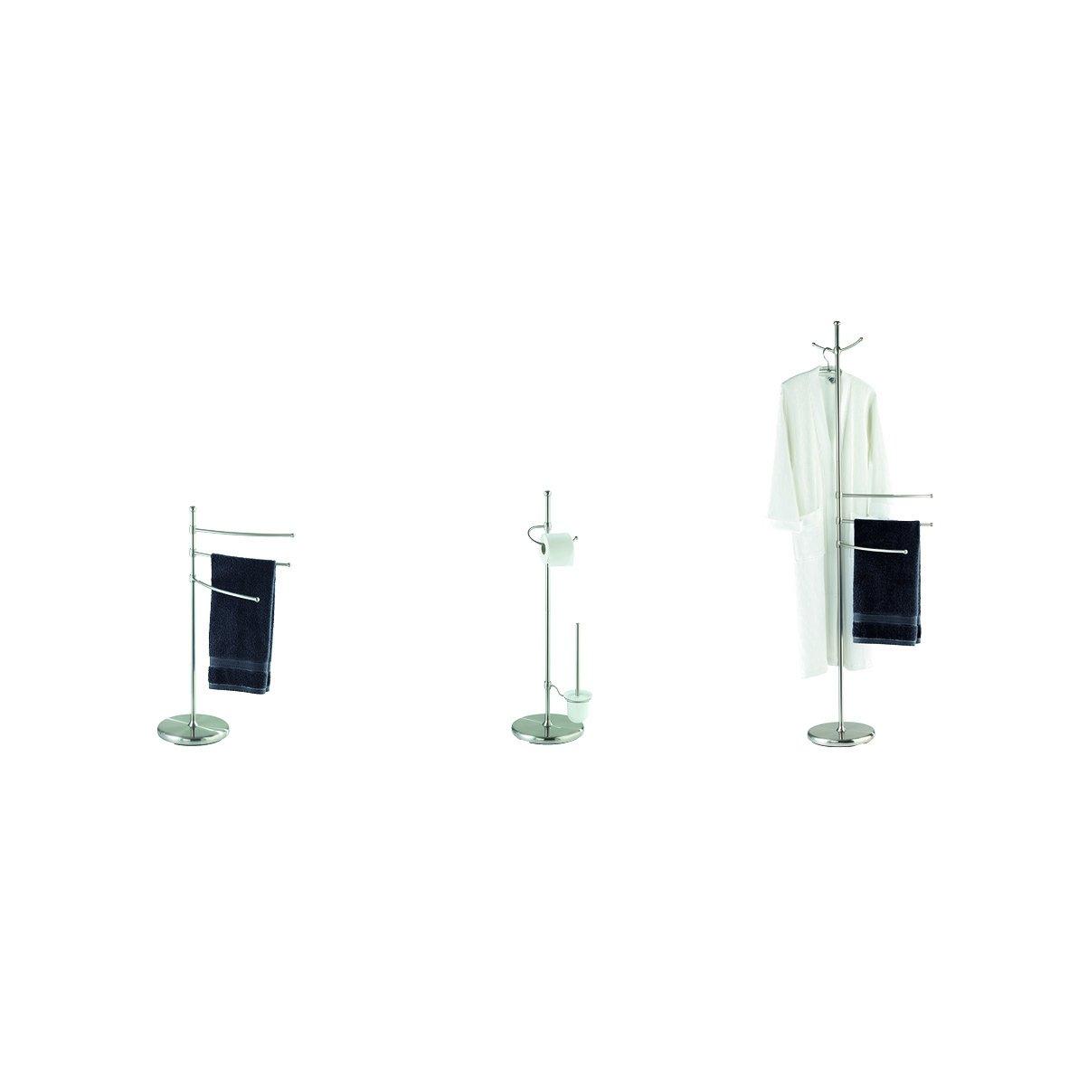 Regolabile in Altezza Vetro Opaco Satinato 28 x 88 x 28 cm Acciaio Wenko Colonnina Portarotolo e Portascopino Adiamo