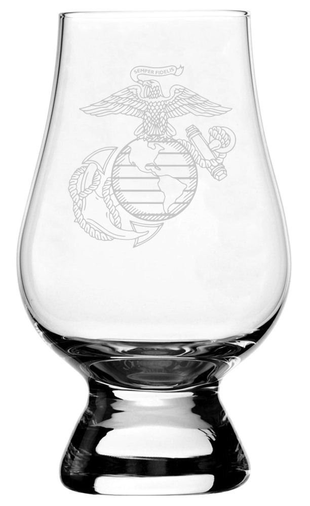 United States Marines Etched Glencairn Crystal Whisky Glass by Etched Laser Art