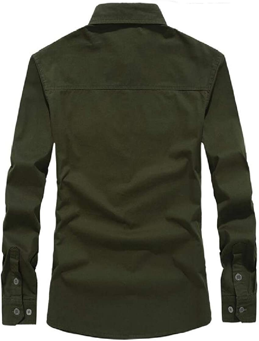 KLJR Men Ma-1 Flight Button Down Long Sleeve Military Cotton Classic Shirts