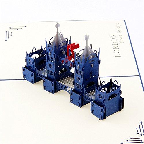 uniqueplus Tower Bridge de Londres 3d Pop Up Kirigami Tarjetas de regalo de felicitaci/ón para cumplea/ños souvenir o cualquier ocasi/ón