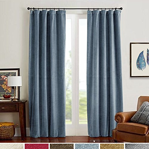 Room Darkening Velvet Curtains, Drapes for Bedroom 84 inch Long Window Curtain Panels, Thermal Insulated Rod Pocket (Single Panel, 84L, - Panel Window Slate