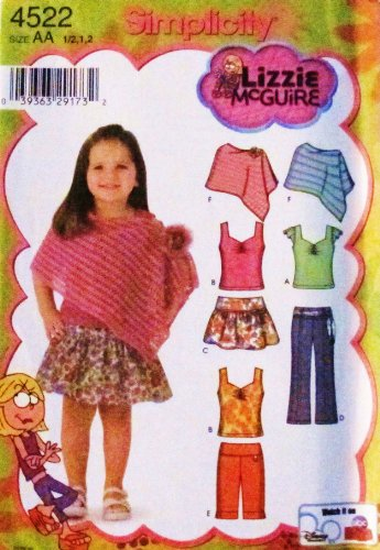 Simplicity 4522 Lizzy McGuire Toddler / Girl Skirt, panties, pants, shorts, poncho, knit tops (Size 1/2, 1, 2) - DISNEY (Tops Knit Holiday)