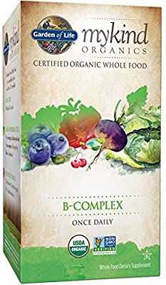 Garden of Life mykind Organic B Complex with Folate - Whole Food Supplement for Metabolism and Energy, 30 Tablets