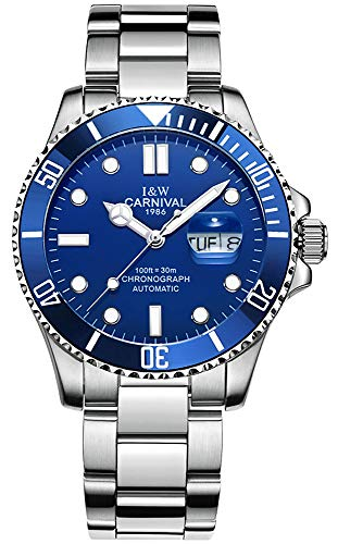 Automatic Blue Dial Men Watch (Silver-Blue) - Mens Automatic Blue Dial