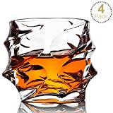 Whiskey Glass Set of 4 Rocks Style,TOPLANET Crystal Lead Free Old Fashioned Whiskey Glasses Tumbler with 4 Coaster, Whiskey Cup Set Drink for Gift Bar Party Bourbon Scotch Vodka- 11 OZ Capacity