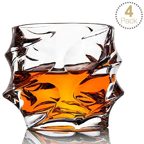 (Whiskey Glass Set of 4 Rocks Style,TOPLANET Crystal Lead Free Old Fashioned Whiskey Glasses Tumbler with 4 Coaster, Whiskey Cup Set Drink for Gift Bar Party Bourbon Scotch Vodka- 11)