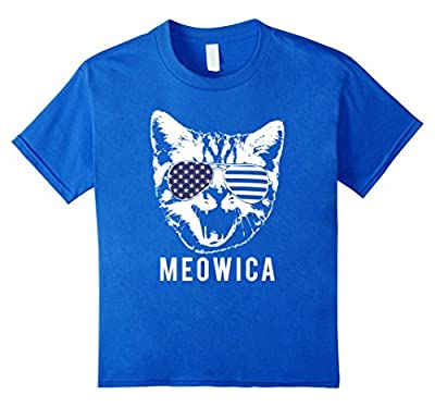 """""""Meowica"""" Funny Patriotic Cat 4th of July T-shirt"""