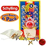 Schylling Classic Metal Jacks with Rubber Ball & Storage Pouch Party Favor Bundle - 6 Pack
