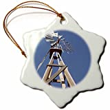 3dRose orn_92661_1 Windmill on Ranch, Santa Fe, New Mexico US32 JMR0357 Julien McRoberts Snowflake Porcelain Ornament, 3-Inch