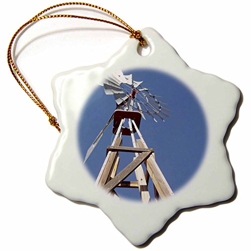 3dRose orn_92661_1 Windmill on Ranch, Santa Fe, New Mexico US32 JMR0357 Julien McRoberts Snowflake Porcelain Ornament, 3-Inch by 3dRose