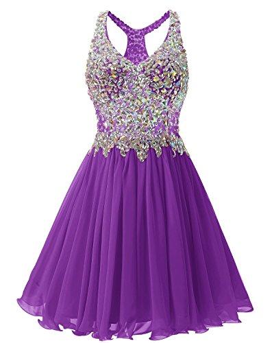 2016 Dress Bridesmaid Heimkehr Ballkleid Beaded Fanciest Abendkleider Kurz Purple Damen 8Y4qawE