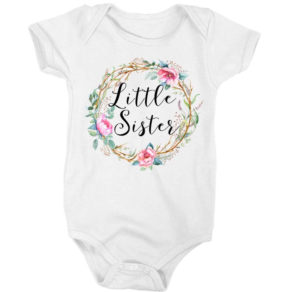 HShyxlkj Newborn Girl Baby Kids Little Sister Romper Bodysuit Big Cotton T