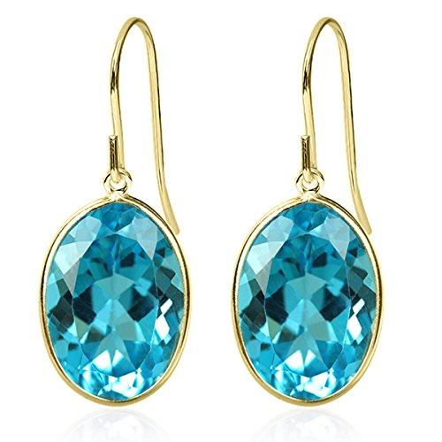14.00 Ct Swiss Blue Topaz Oval Cut 10X14MM Solid 14K Yellow Gold Gemstone Birthstone Women's Earrings