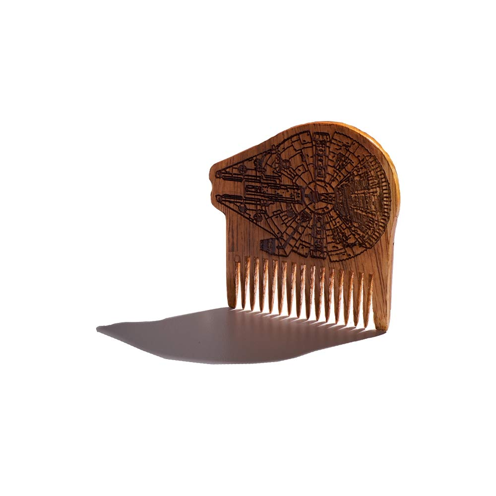 BEARD GAINS Millennium Falcon Wide Tooth Wooden Beard Comb | Facial Hairs Shaping Tool for Style and Grooming | MADE IN USA