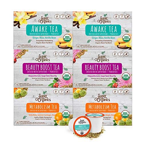 Super Organics Tea Variety Pack with Superfoods and Probiotics | Keurig K-Cup Compatible | Awake Tea, Metabolism Tea, Beauty Tea | USDA Certified Organic, Vegan, Non-GMO, 72ct