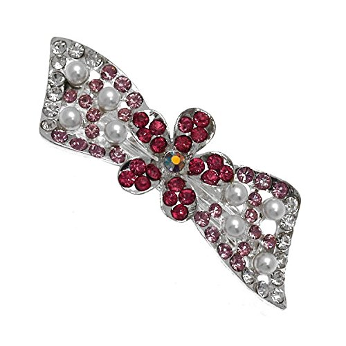 (Monica Silver tone Pink Fuchsia Crystal faux Pearl Bow Barrette)