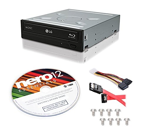 LG WH16NS40 16X Blu-ray BD/BDXL/MD M-DISC Burner Drive 3D Playback + free Nero 12 Essentials Burning Software + Sata Cable Kit by LG