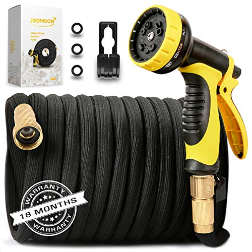 [New Double Strength Flexible]Expandable Garden Hose 100ft,Lightweight Water Hose with Later Core with 3/4 Solid Brass Fittings,10 Function Hose Nozzle,Heavy Duty Fabric for Watering Garden,Cleaning