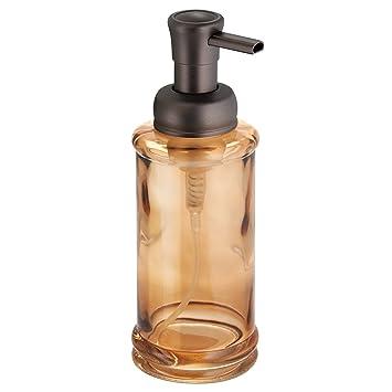 InterDesign Hamilton Glass Foaming Soap Dispenser Pump, For Kitchen Or  Bathroom Countertop   Sand/