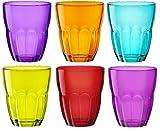 Ercole Coloured Tumblers Glasses – 6 Piece set – Blue, Purple, Pink, Green, Orange, Red – 230ml – 8oz