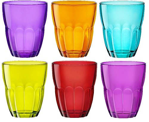 Ercole Coloured Tumblers Glasses - 6 Piece set - Blue, Purple, Pink, Green, Orange, Red - 230ml - 8oz