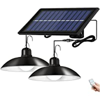 Aolyty Solar Pendant Light with Double Head Shed Light IP65 Waterproof Solar Powered Hanging Light with Remote Control…