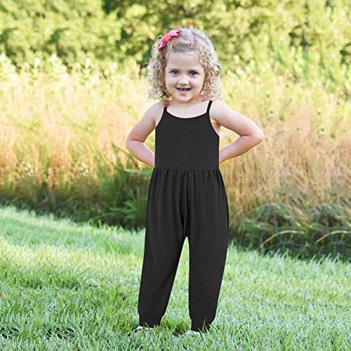 Drfoytg Baby Girl Cute Jumpsuit One Piece Strap Backless Harem Romper Outfits with Pockets 1-6 Years