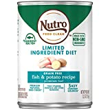 NUTRO Limited Ingredient Diet Adult Canned Natural Wet Dog Food Premium Loaf Fish & Potato Recipe, (12) 12.5 oz. Cans